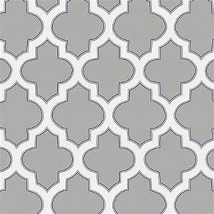 Silver Gray and Navy Hand Drawn Quatrefoil Fabric by the ...