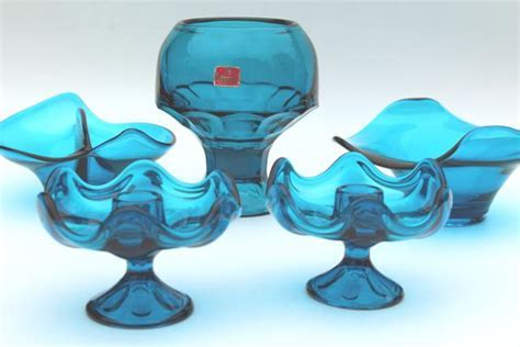 vintage Viking bluenique aqua blue art glass collection