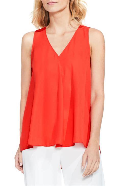 v drape vince camuto drape front v neck sleeveless blouse regular