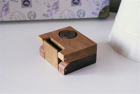 personalised wooden engagement ring box in