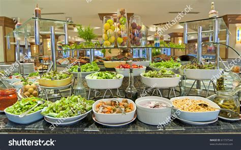 buffet bar cuisine selection salads buffet bar luxury hotel stock photo