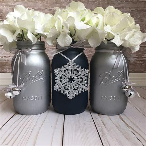 navy blue  silver mason jars christmas table
