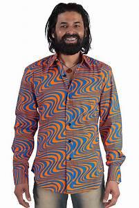 70er Jahre Retro Herrenhemd Flower Power Mode