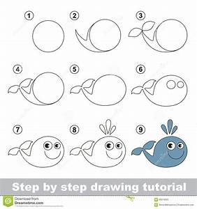 How to draw a Funny Whale stock vector. Illustration of ...
