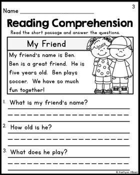 Kindergarten Reading Comprehension Passages  Set 1 Freebie  Pre K  Pinterest Kindergarten