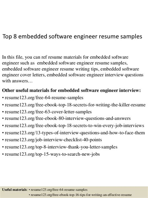 Resume Headline For Software Engineer by Top 8 Embedded Software Engineer Resume Sles