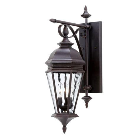 hton bay georgetown 3 light bronze outdoor wall lantern