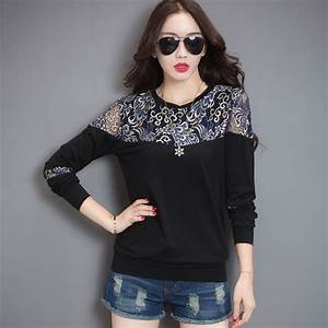 lace t shirt korean t shirt women clothes 2018 casual With robe t shirt femme