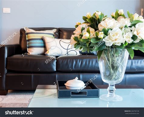 Living Room Artificial Flowers by Modern Living Room Interior Design Artificial Stock Photo