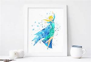 elsa print frozen disney watercolor nursery wall decor With disney wall art