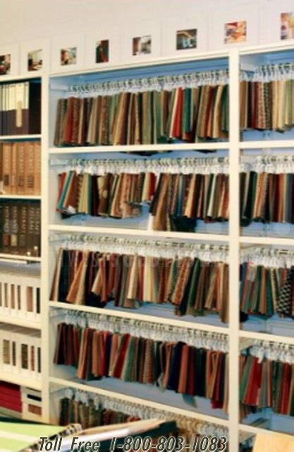 fabric reference area wall shelves retail hanging textile sample display storage