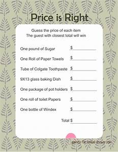 free printabel price is right bridal shower game With printable wedding shower games