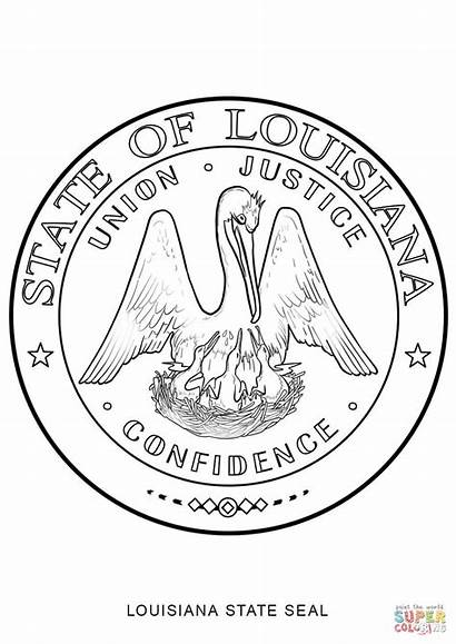 Louisiana State Seal Coloring Pages Flag Jersey