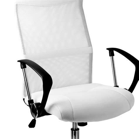 fauteuil chaise de bureau blanche inclinable ergonomique