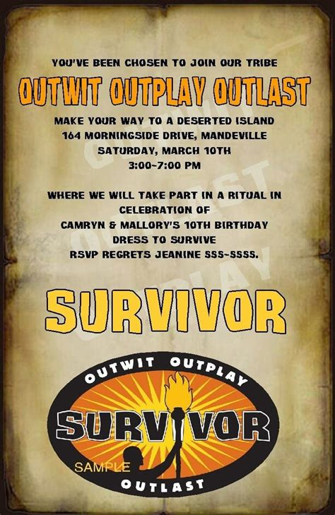 custom survivor party invitations ebay survivor party