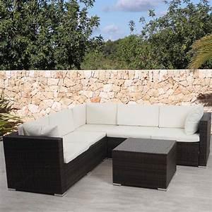 Rattan Lounge Set Braun : poly rattan sofa garnitur rom basic sitzgruppe lounge set alu braun meliert kissen creme ~ Bigdaddyawards.com Haus und Dekorationen