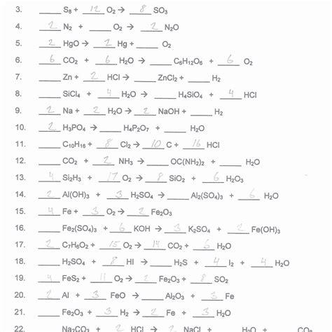 chemfiesta balancing equations worksheets answers