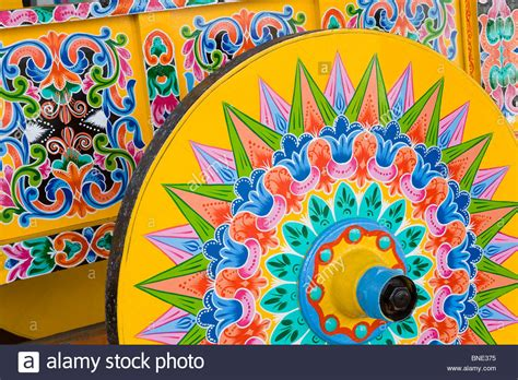 Close up of a decorated ox cart Sarchi Costa Rica Stock