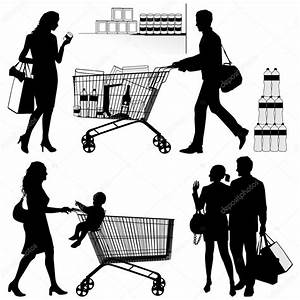 Several , shopping - vector silhouettes — Stock Vector ...