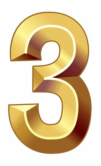 Number Gold Clipart Three Numbers Decorative Transparent