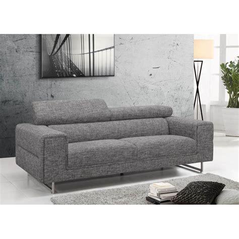 canapé tissu gris chiné canapé droit design 3 places mario en tissu gris clair chiné
