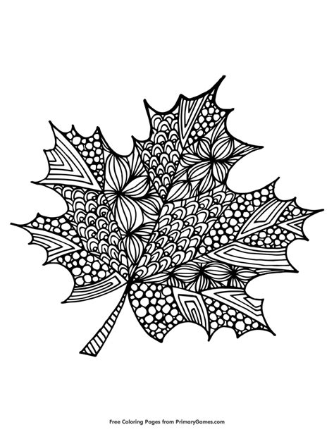 Maple Leaf Coloring Page • FREE Printable eBook Fall