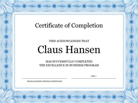 certificate  completion blue