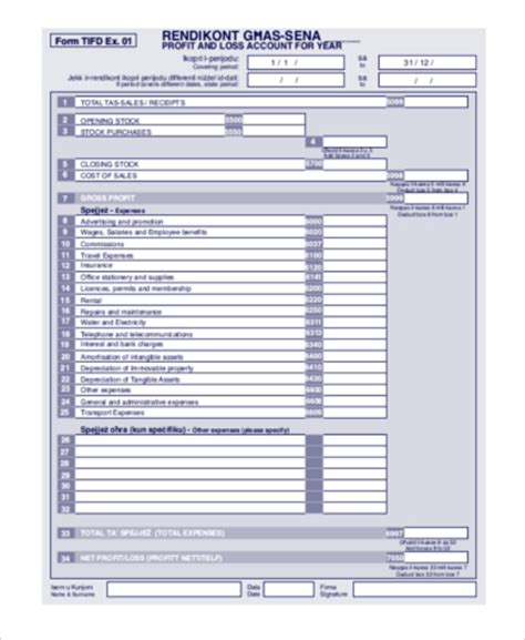 free printable profit and loss statement form printable profit and loss statement form pertamini co