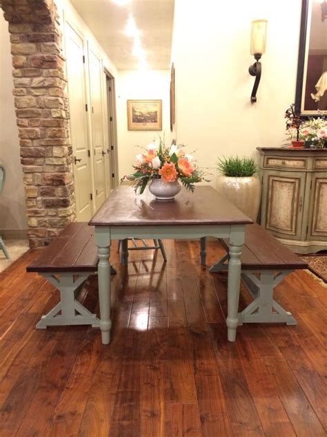 toned farm house table  benches blue  chocolate