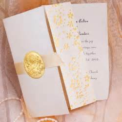 cheap wedding invitation sets gold embossed floral deco tri fold wedding invitation sets ewri011 as low as 1 39