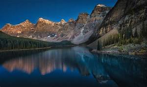 Mountain, Moraine, Lake, Canada, Sunset, Forest, Summer