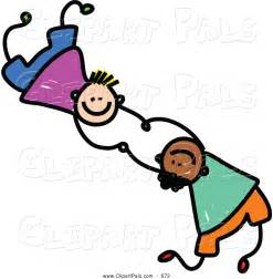 Two Friends Playing Together Clip Art