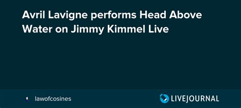 Avril Lavigne Performs Head Above Water On Jimmy Kimmel