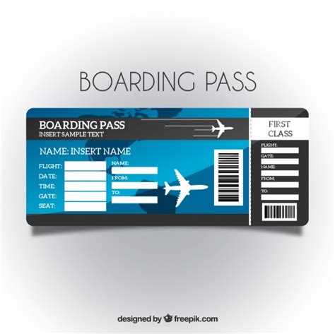 Boarding Pass Template Boarding Pass Template With Blue Background Vector Free