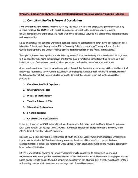 technical financial proposal  enterpreneurship