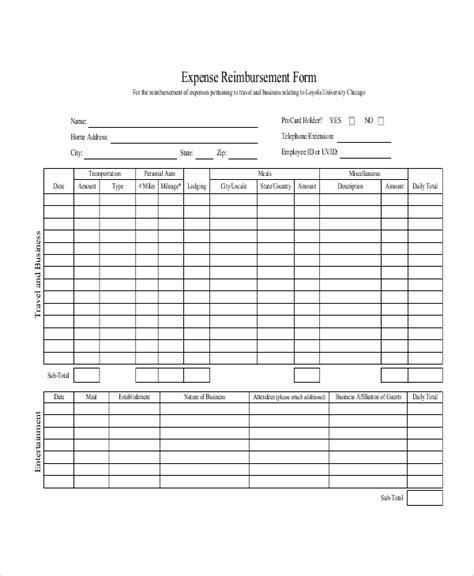 sample mileage reimbursement forms  ms word