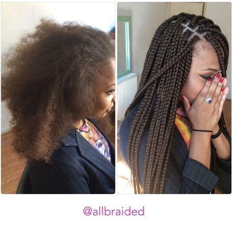 medium box braids with color medium sized box braid on a curly hair hair used