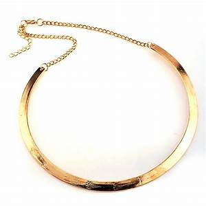Punk Slim Curved Metal Bib Choker Collar Necklace Gold ...