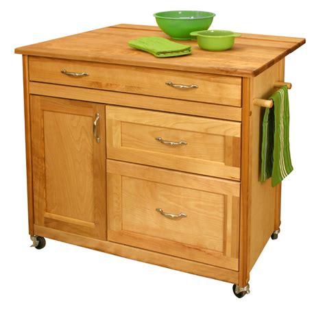 kitchen island cart  deep drawers drop leaf