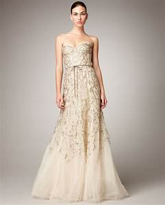 lyst monique lhuillier strapless tulle chantilly lace With metallic wedding dress