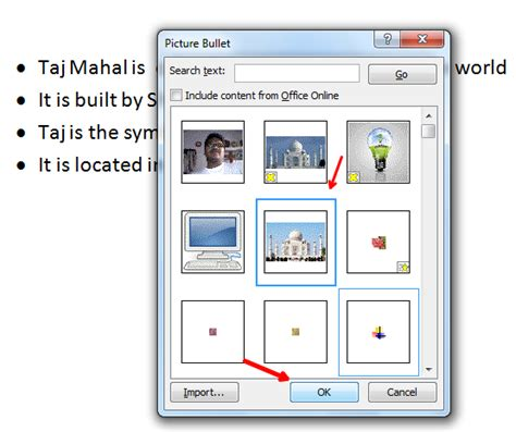 how to use pictures as bullets in word