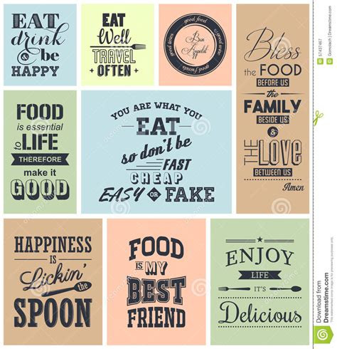 cuisines vintage set of vintage food typographic quotes stock vector