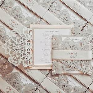silver laser cut wedding invitation bespoke chic laser With bespoke rustic wedding invitations