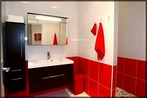 salle de bain rouge noire et blanc With salle de bains rouge