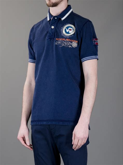 napapijri logo polo shirt  blue  men lyst