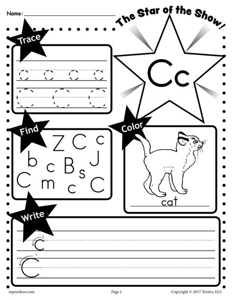 letter c worksheets 26 alphabet worksheets tracing coloring writing amp more 22785 | C Star of the show Letter worksheet 1024x1024
