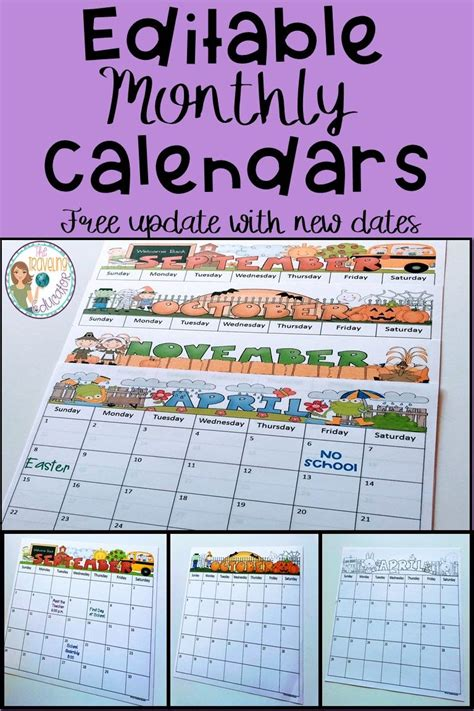 monthly calendar editable template traveling educator