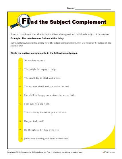 worksheets on adjective complements find the subject complement worksheet