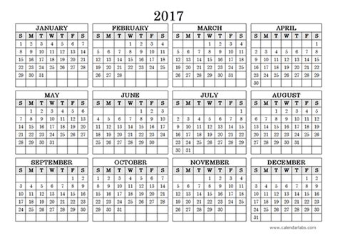 yearly calendar template 2017 2017 yearly calendar landscape 09 free printable templates