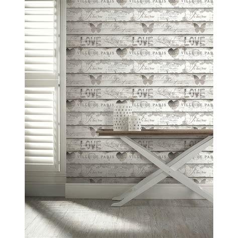 Shabby Chic Holz by Shabby Chic Wood Wallpaper Neutral Diy B M
